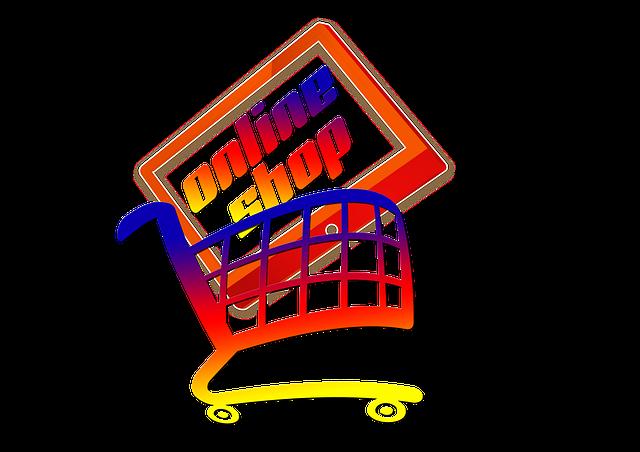 kreslená ikonka nakupování na obchodech po internetu